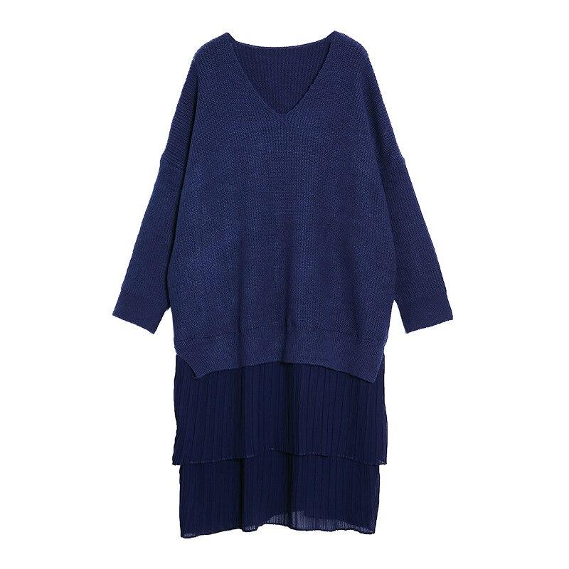 Longues Confortable Solide Nouveau Chandail Chaud À cou Bleu Hiver Épaississent Souple Robe O Femmes Manches Et Tricoté Causual P7aq7v