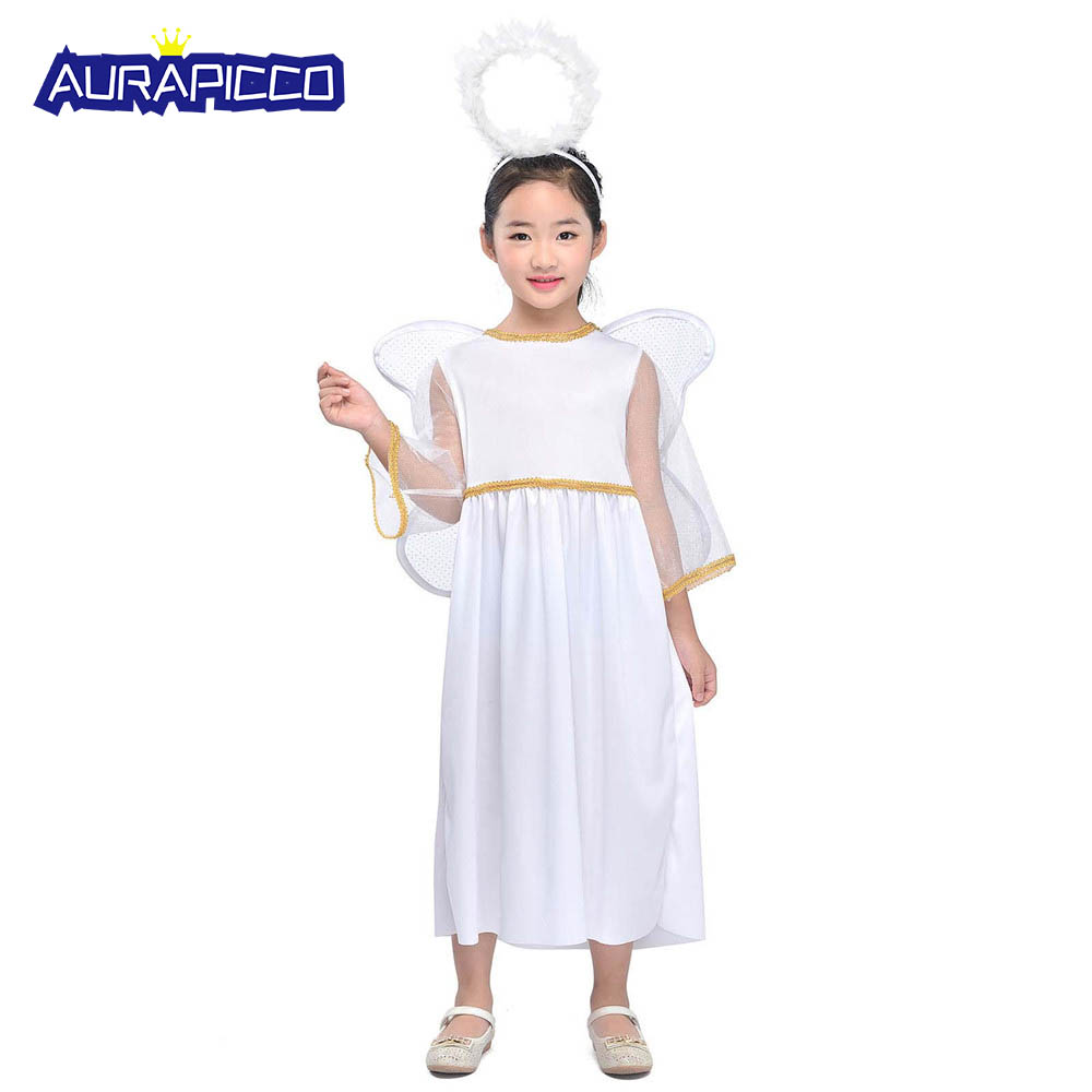 Kids Angel Costume Heaven Sent Girls Roleplay Nativity Cherub Fancy Dress Xmas Carnival Costume Halloween Outfit with Wings