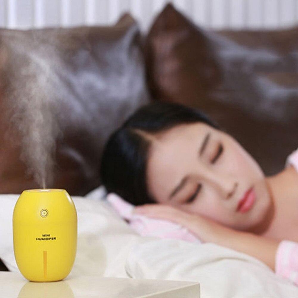 2018New Tuansing 180ML Lemon Mini USB Portable Ultrasonic Humidifier DC 5V LED Light Air Purifier Mist Maker For Home OfficeCar