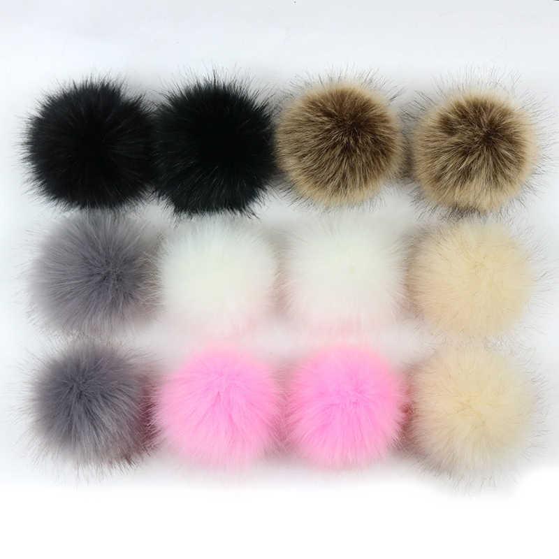 1pc Falso Hairball Chapéu Bola Pompom Pele 8 centímetros Faux Pele De Raposa Pom Pom Bola Artificial Artesanal DIY para chaveiros Acessórios Cap
