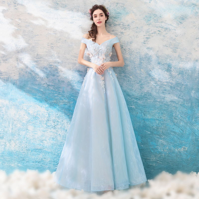 Off The Shoulder Prom Dresses Cheap 3D Flowers Appliques Beading Light Blue Long Lace Prom Party Dress Vestido Longo Festa Gala
