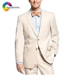Бежевый Для мужчин костюмы Slim Fit свадебные смокинг для жениха из 2 предметов (куртка + брюки) Жених комплект лучший мужчина элегантное платье
