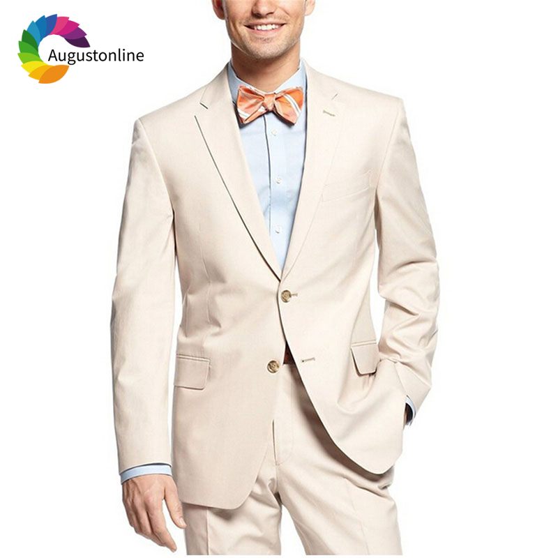 Beige Men Suits Slim Fit Wedding Groom Tuxedos 2 Pieces (Jacket+Pants) Bridegroom Set Best Man Prom Wear Blazer