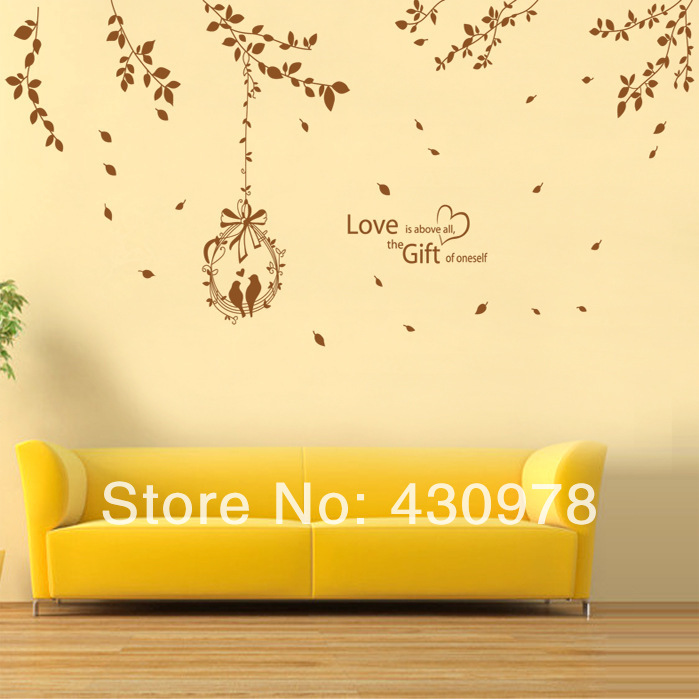 QZ1023 Free Shipping 1Pcs Love <font><b>Home</b></font> Birds On Branch Swing Branch Removable PVC Wall Stickers <font><b>Elegant</b></font> Fancy <font><b>Home</b></font> <font><b>Decoration</b></font> Gift