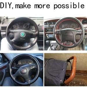 Image 5 - רכב הגה כיסוי 38cm 40CM יד תפור DIY עור אמיתי 100% עור פרה צמת עם מחטי חוט 38CM אביזרי רכב