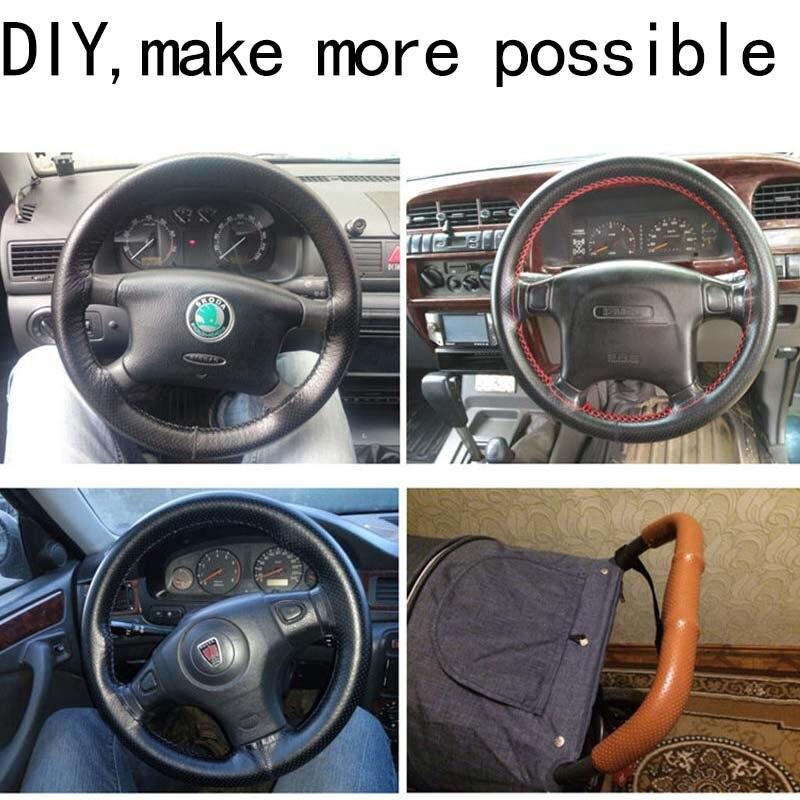 Image 5 - Osłona na kierownicę do samochodu 38cm 40CM ręcznie szyte DIY prawdziwej skóry 100% wołowej warkocz z igłami temat 38CM akcesoria samochodowePokrowce na kierownicę   -