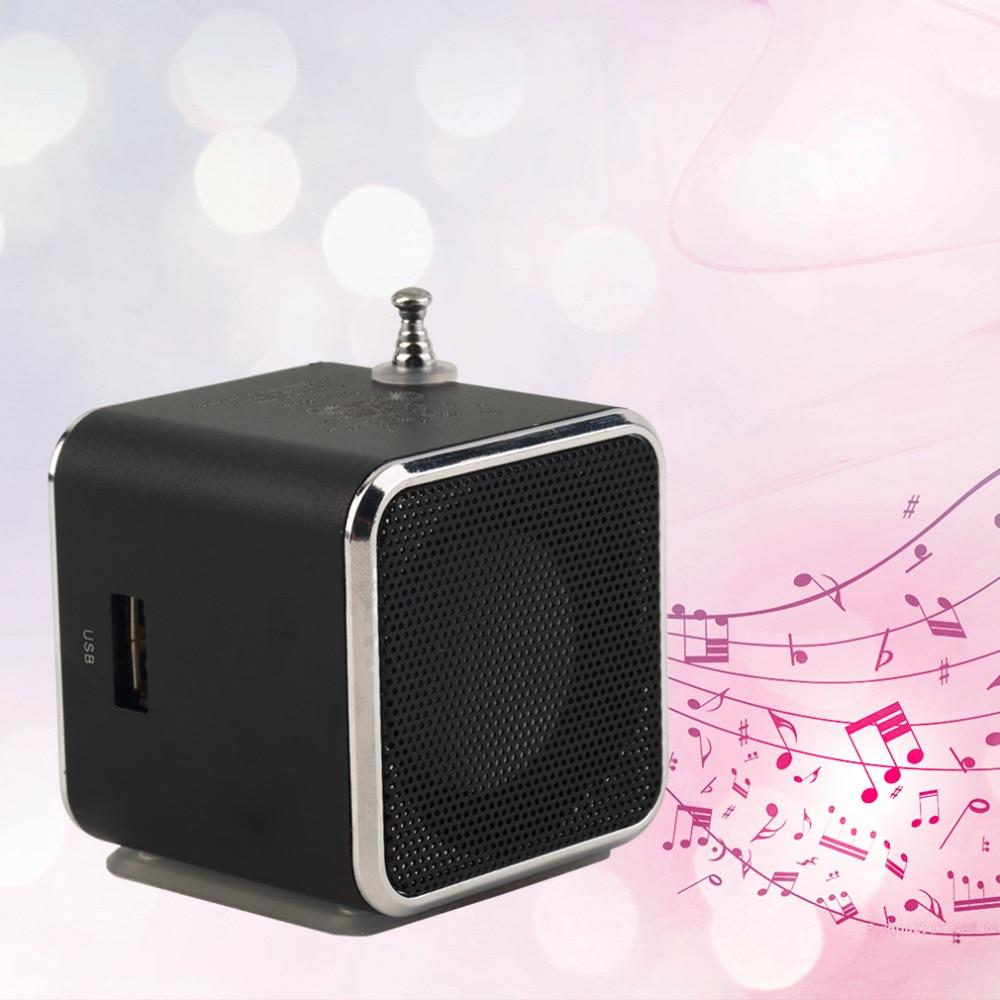 1pcs Micro SD TF USB Mini Stereo Speaker black Aluminum alloy Portable Music Player FM Radio
