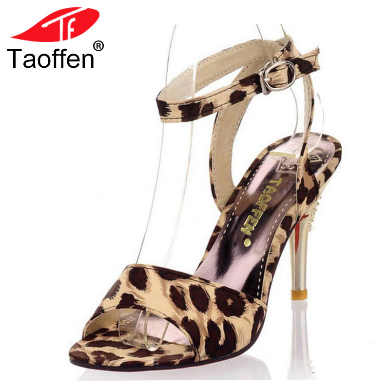 TAOFFEN women high heel sandals ladies buckle party shoes woman sexy leopard heels heeled sandalias footwear size 31-47 PA00162 real pic high color decorative rivets women casual shoes brand designer lace up comfortable women flats shoes woman