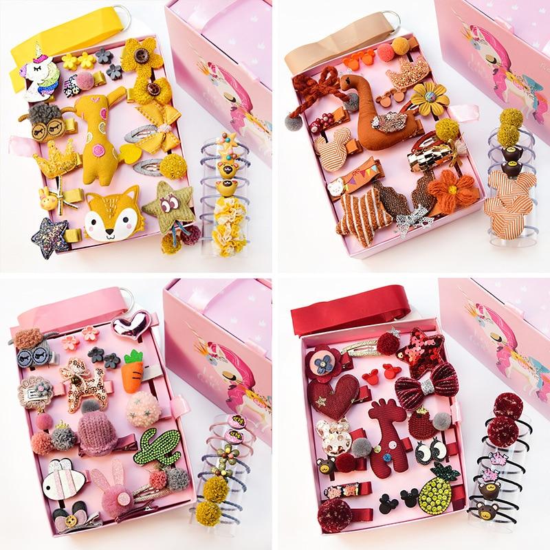 24Pcs Girls Doll Barrettes Hair Accessories Princess Birthday Headdress with Box