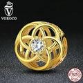 Voroco authentic 925 sterling silver flower bead com pedra branca perfurada rodada encantos fit pandora pulseiras acessórios s380