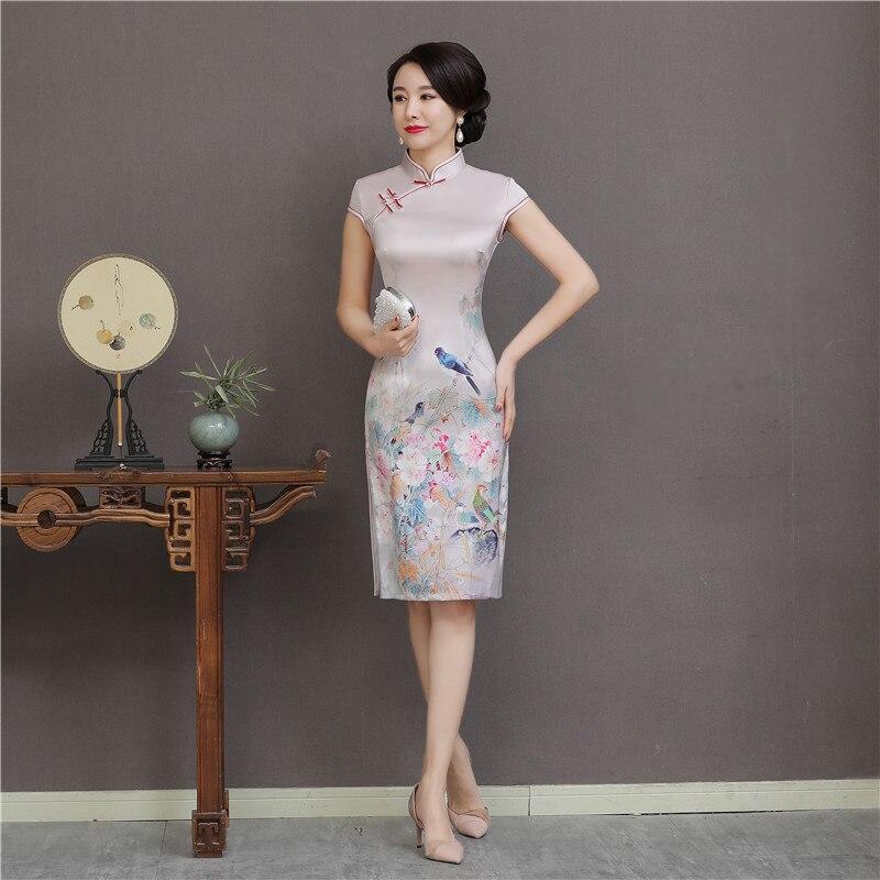 Mandarin Collar Sexy Knee Length Dress Chinese Traditional Style Cheongsam Elegant Women' S Handmade Button Dress Size M-XXXL