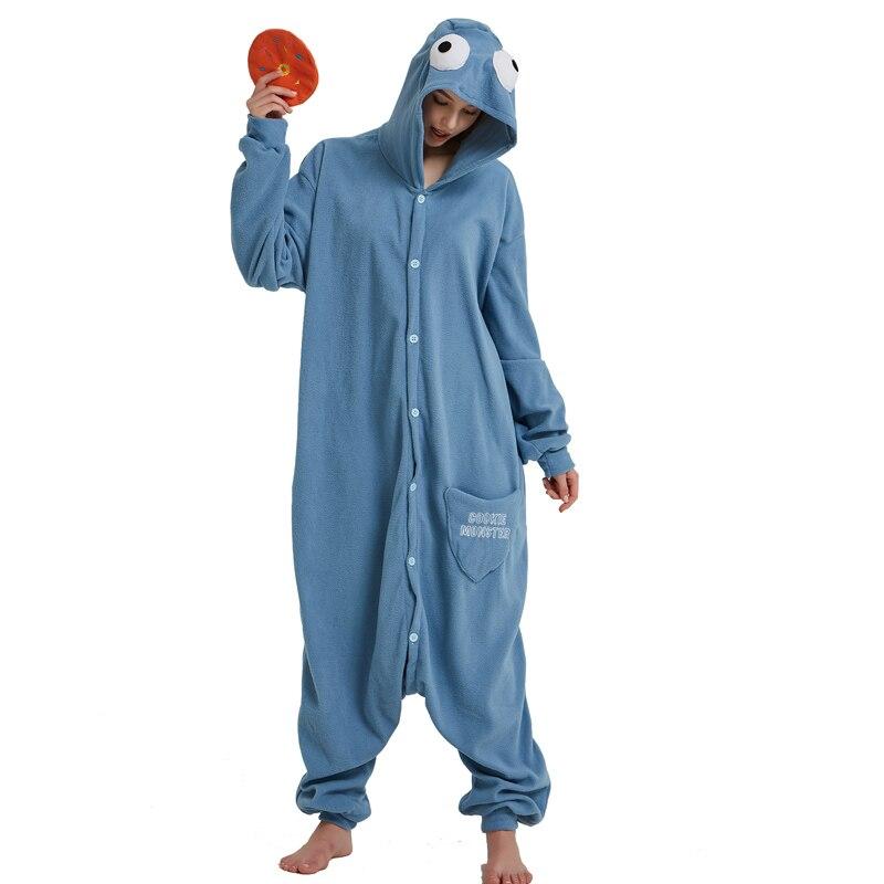 Cookie Monster Kigurumi Cartoon Onesie Jumpsuit Adult Sesame Street Pajamas For Women Sleepwear Pyjamas Cosplay Halloween Party (3)