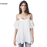 VANLED Embroidery Lace Short Sleeve Backless Women Chiffon Blouse Tops Plus Size White Off Shoulder Spaghetti