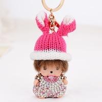 Śliczny Królik Kapelusz monchichi Dziecko torba akcesoria Breloki Luksusowe Kryształ Rhinestone Kobiety Biżuteria Torebki Charms