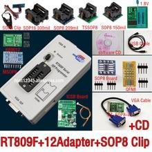 Programador rt809f original + 12 adaptadores + sop, clipe ic + cd + 1.8v/sop8, adaptador vga lcd adaptador universal programador isp,