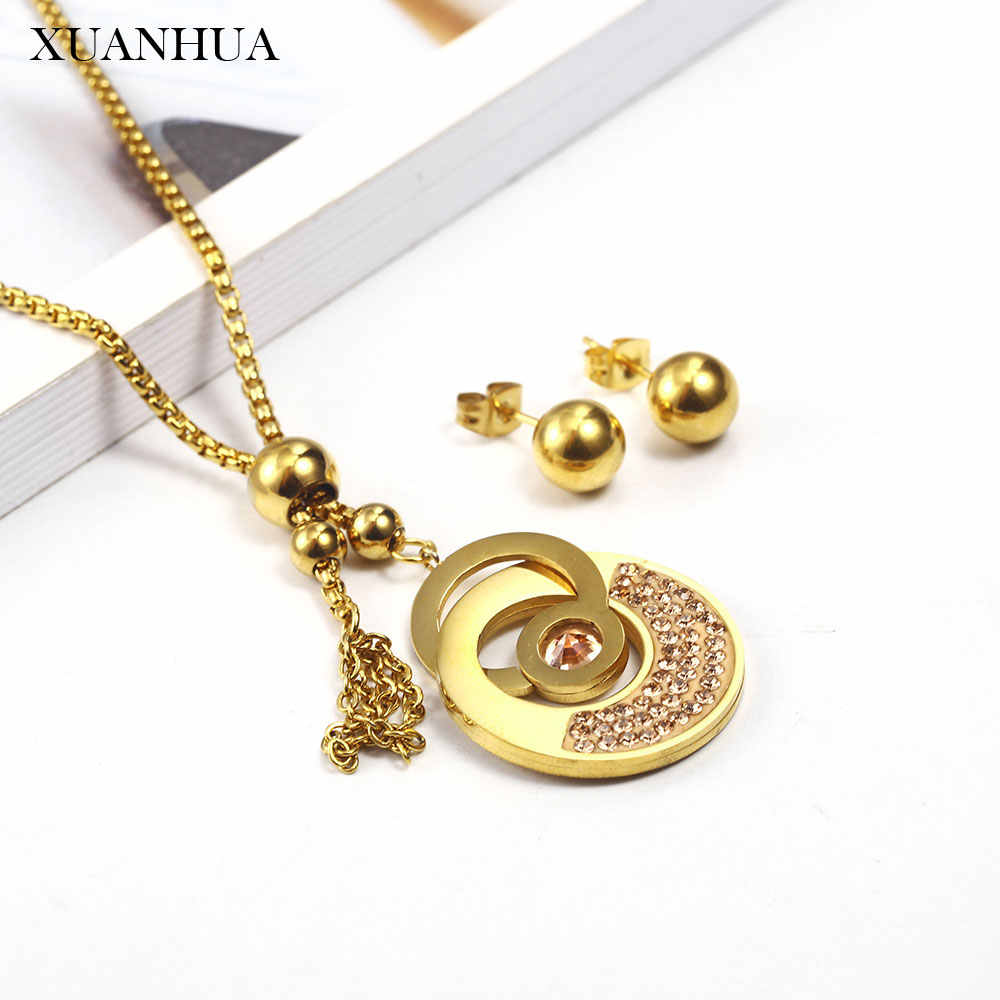 XUANHUA Charm Jewelry Sets Stainless Steel Jewelry Woman Vogue 2019 Steel Ball Earring Necklace set Fine Jewelry Accessories