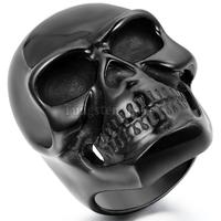 Fashion Punk Mens Ring Large Heavy Stainless Steel Personalized Gothic Biker Skull Ring For Men Boys