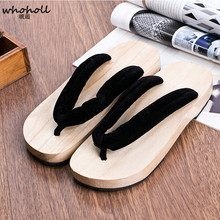 WHOHOLL オリジナル下駄男性女性日本の下駄木製下駄フリップフロップ Comiket 着物靴コスプレスライドスリッパフラット靴