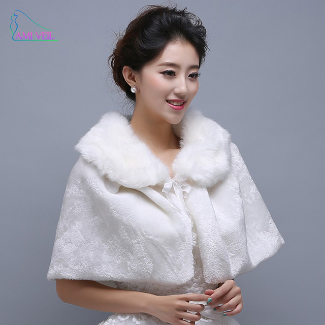 2017 Fashion Sweet with Bow White Wedding Jacket Wraps Short Winter ...