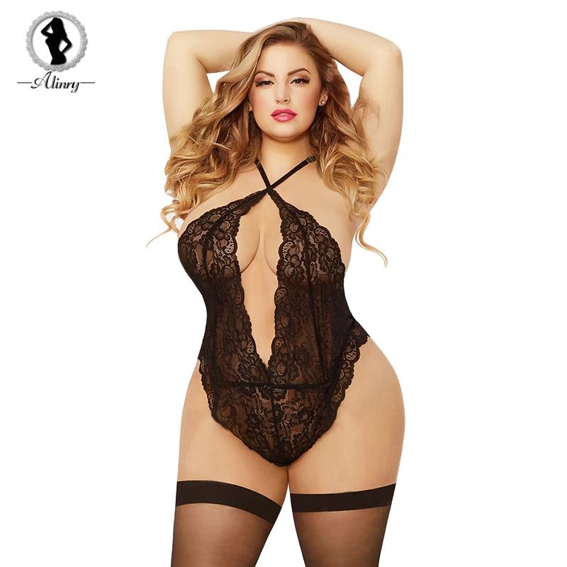 45cf7912c8e ALINRY Sexy Bodysuit Lingerie Hot Plus Size Women Hollow out ...