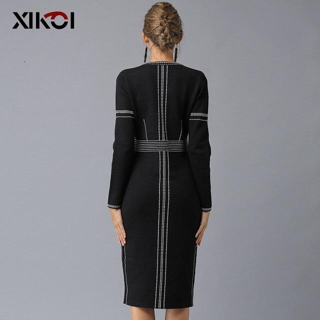 XIKOI Casual Women Knitting Dress Black MIDI O-Neck Fashion Hem Split Ladies Women's dresses Knee-Length Graceful 2019 Spring 3