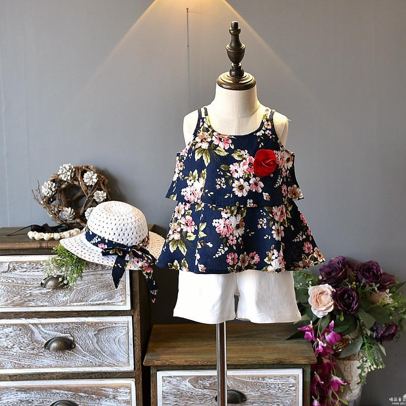YorkZaler 3 PCS/set Girls Clothes Set Summer Sleeveless Girls Print Floral Beach Dress Sundress With Shorts Hat Kid Clothing