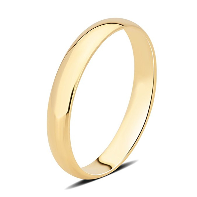 AINUOSHI 14K Solid White Yellow Gold Plain Smooth Ring Classic Wedding Engagement Men Lovers Promise Shinning