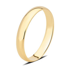 AINUOSHI 14K Solid White/Yellow Gold Plain Smooth Ring Classic Wedding Engagement Men Lovers Promise Shinning Ring Band Jewelry