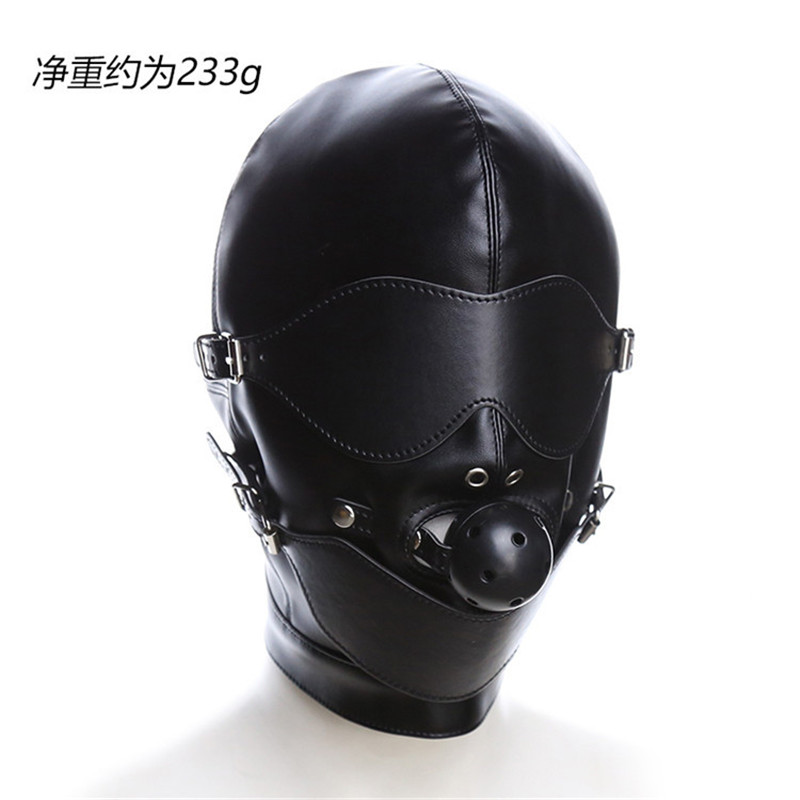 Adult Games Sex Product Fetish Hood Headgear With Mouth Ball Gag PU Leather BDSM Bondage Sex Mask Hood Toys For Couples For Sex
