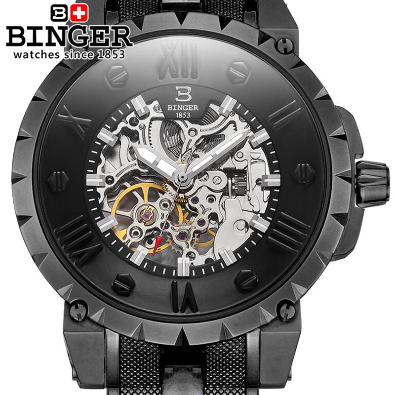 Switzerland BINGER Men Wristwatches 3D Skeleton Dial Sapphire Male Clock Full Steel Strap Automatic Self-Wind Mechanical Watch(China)