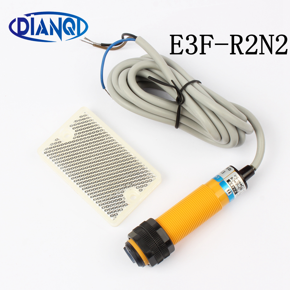 DIANQI M18 Feedback reflex reflection photoelectric switch sensor E3F-R2N2 DC NPN NC diameter distance 2m Transducer 3-WIRE reflection
