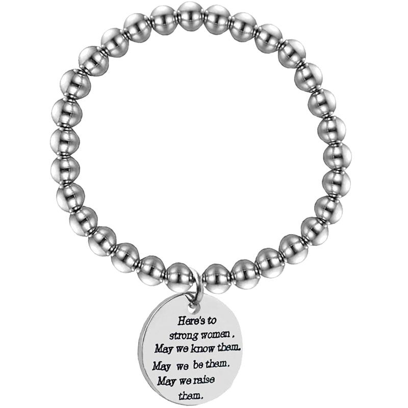 Positive Inspirational Hope Bracelet Silver Stainless Steel Bead Handmad Mantra Bracelet Adjustable Motivation Jewelry For femme