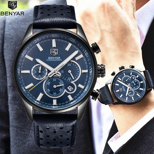 BENYAR reloj militar de marca lujosa reloj con correa de cuero analógico y  de cuarzo para d9ba90fead80