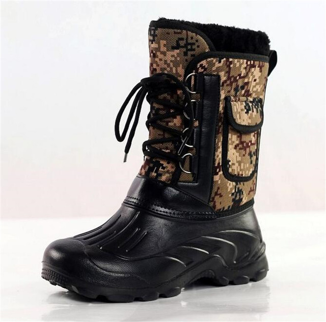 Fashion winter warm men's thickening platforms waterproof shoes military desert male knee-high snow boots outdoor hunting botas