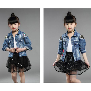 Image 3 - Baby Girls Denim Jackets For Boys Jackets And Coats Children Jacket Spring Autumn Rose Embroidery Jeans Coat Children Outerwear