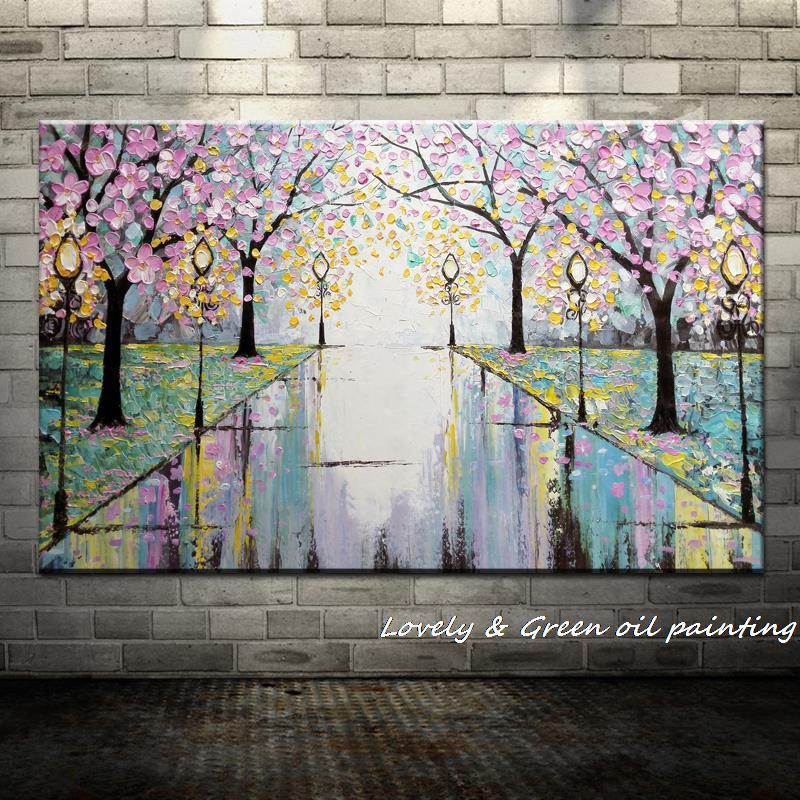 Большой расписанный вручную любовник дождь уличное дерево лампа пейзаж картина маслом на холсте настенные художественные настенные картины для гостиной домашний декор - Цвет: HY141982