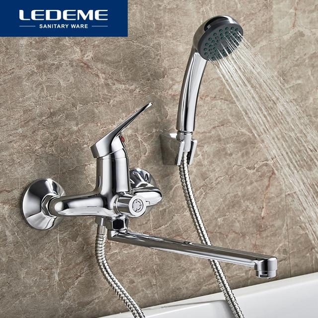 LEDEME Bathroom Bathtub Faucet Set Chrome Plated Outlet Pipe Bath - Bathroom faucet outlet
