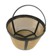 Cup Basket Style Permanent Gold Tone Coffee Filter coffee strainer Coffeemakers Cup Kitchen Cafe Tool 8-12/12-16 cups