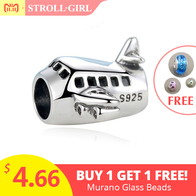 все цены на StrollGirl diy design little boat and plane 925 sterling silver charms beads fit authentic pandora bracelet pendant jewelry new
