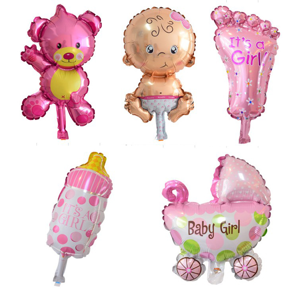 5pcs/set Mini Balloons Baby Shower Party Foil Balloons Baby Boy Girl Cartoon Balloons fo ...