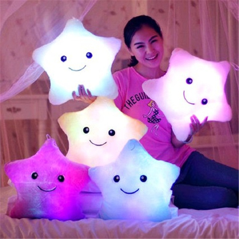 Creative Luminous Pillow Colorful Noctilucent Led Light Star Plush Toys Pillow Kawaii Cushion Pillow Valentine Birthday