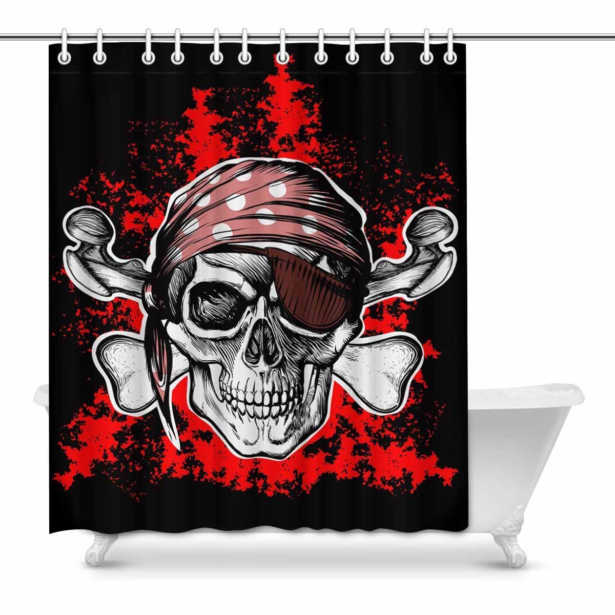 Aplysia Jolly Roger Pirate Symbol With Crossed Daggers On The Black And Red Bathroom Shower Curtains In From Home Garden Aliexpress