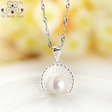 Real 925 Sterling Silver White Button Natural Freshwater Pearl Shell Design Pendants Necklaces For Women Fashion Female Jewelry