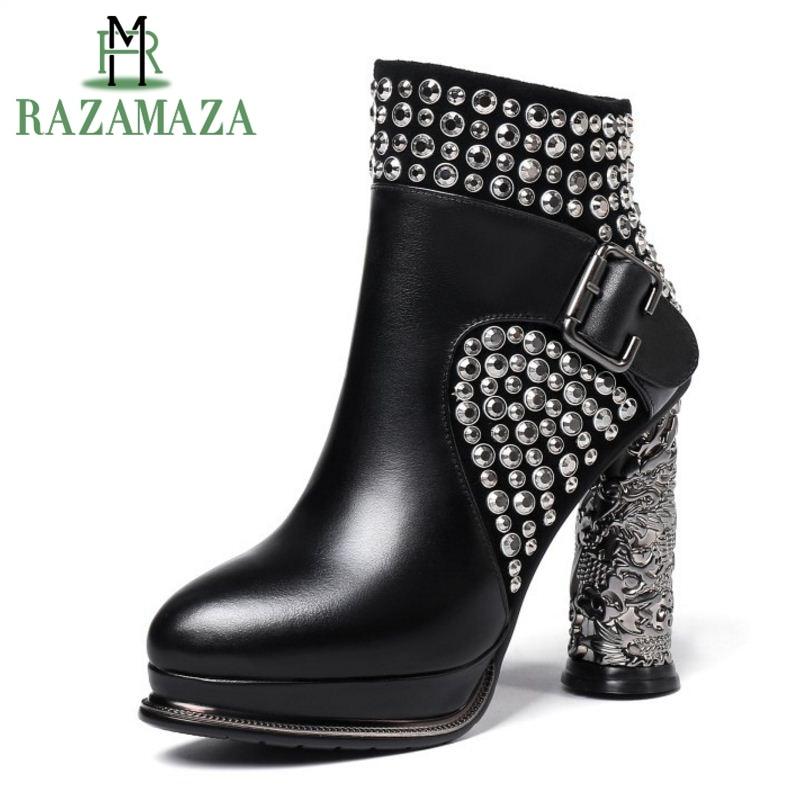 RAZAMAZA Women Ankle Boots Genuine Leather Shoes Woman Warm Fur Shoes Platform High Heel Boots Rivets Gothic Shoes Size 33-40RAZAMAZA Women Ankle Boots Genuine Leather Shoes Woman Warm Fur Shoes Platform High Heel Boots Rivets Gothic Shoes Size 33-40