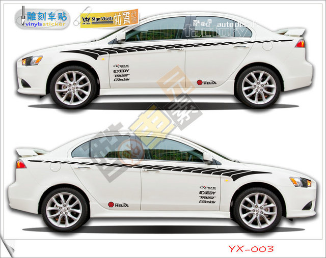 Wholesale retail auto decals stickers set of 2 car side stripes sticker decal for all