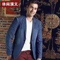 Denim Blazer Men Men's Top Quality Single Breasted Two Button Slim Denim Blazer Jeans Blazer Men Denim Jacket Suits A426