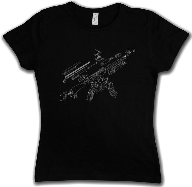 2018 Short Sleeve AK47 BLUEPRINT T SHIRT AK 47 74 Gun MG Machine Automatic  Rifle War Russian-in T-Shirts from Women's Clothing & Accessories on