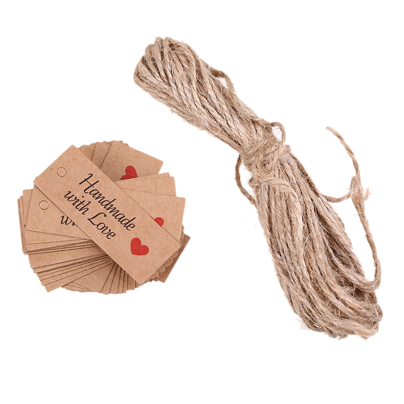 WHISM 100PCS Kraft Paper Gifts Tags Luggage Christmas Wedding Party Note Hang Packaging Price Label for Jewelry Flower Garment