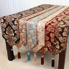Lengthen Flower Table Runner Fashion Simple Cover Cloth Embossed Jacquard European style Art  High End Coffee