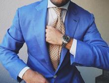 Cheap custom blue men's suits, wedding dresses, men's suits (business jacket + pants + tie + vest)